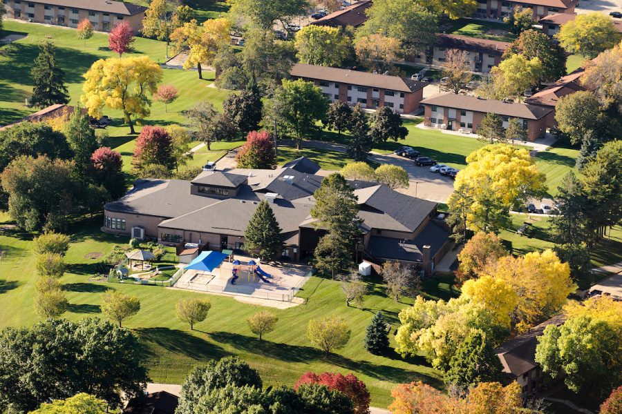 Aerial shot of eagle heights in fall
