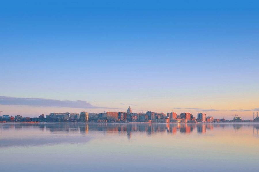 Horizon shot of Madison from Lake Monona