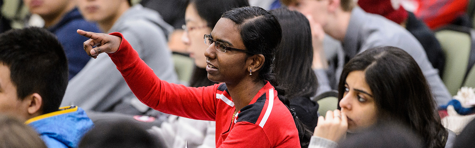 A student responds to a question during a Comp Sci 537 Intro to Operating Systems class at UW–Madison.