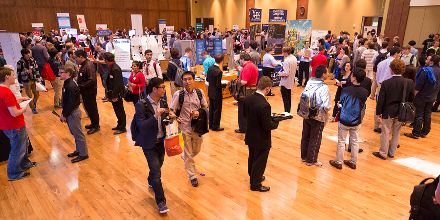 Students and employers are pictured at the Madison Area Computer Sciences Job Fair, hosted by the department of Computer Sciences at UW–Madison.
