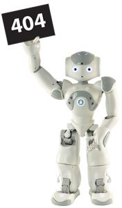 "A robot holding a card which reads ""404""."